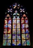 Finestra di vetro macchiato della st Vitus Cathedral, Immagine Stock Libera da Diritti
