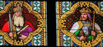 Finestra di vetro macchiato di Carlo Magno Fotografia Stock Libera da Diritti