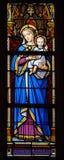 Finestra di vetro macchiato di Madonna con il bambino immagine stock libera da diritti