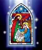 Finestra di vetro macchiato di Natale Fotografia Stock Libera da Diritti