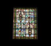 Finestra di vetro macchiato. Museo del palazzo del benedettino in Fecamp Immagini Stock Libere da Diritti