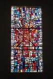 Finestra di vetro macchiato nella cattedrale di Skalholt in Islanda Immagini Stock