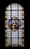 Finestra di vetro macchiato nella cattedrale di Subotica Fotografie Stock