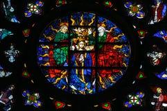 Finestra di vetro macchiato nella chiesa di Santa Maria Del Mar. Fotografie Stock Libere da Diritti