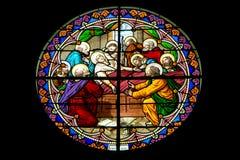 Finestra di vetro macchiato nella natività della nostra signora Cathedral, Tailandia Fotografia Stock