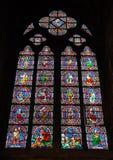 Finestra di vetro macchiato, Notre Dame de Paris Fotografie Stock Libere da Diritti
