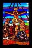 Finestra di vetro macchiato in una chiesa Fotografia Stock