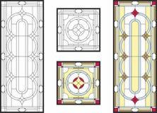 Finestra di vetro macchiato variopinta nello stile classico per i pannelli della porta o del soffitto, tecnica di Tiffany Immagini Stock