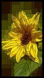 Finestra di vetro macchiato di vettore con il girasole giallo di fioritura royalty illustrazione gratis