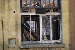Finestra dopo il fuoco Fotografia Stock