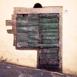 Finestra e porta antiche di legno italiane tipiche, granito orlato Fotografie Stock