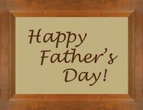 Finestra felice della struttura di legno di festa del papà con testo Immagini Stock