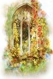 Finestra Londra della chiesa abbandonata acquerello immagine stock
