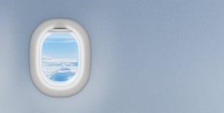 Finestra o oblò dell'aeroplano con copyspace Immagine Stock