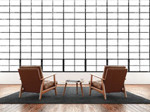 Finestra panoramica enorme del sottotetto interno moderno dello studio, pavimento naturale di colore Mobilia generica di progetta Fotografie Stock