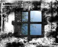 Finestra, parete grigia Fotografie Stock Libere da Diritti