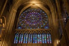 Finestra rosa del vetro macchiato in Notre-Dame Carthedral, Parigi Immagine Stock
