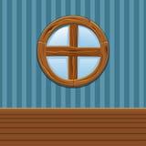 Finestra rotonda di legno del fumetto, interno della casa Fotografia Stock