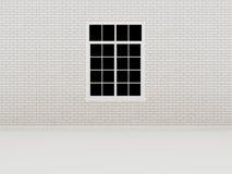 Finestra sul muro di mattoni bianco, 3d Immagine Stock