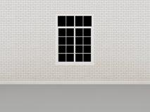 Finestra sul muro di mattoni bianco, 3d Immagini Stock Libere da Diritti