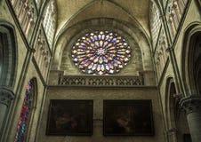 Finestra variopinta della cattedrale di Ypres Fotografia Stock