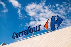 Finestrat, Spain - March 9, 2018: Carrefour logo in Finestrat Spain. royalty free stock photography