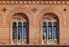 Finestre antiche al palazzo Immagini Stock Libere da Diritti