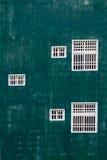 Finestre bianche contro la parete verde Immagini Stock