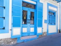 Finestre blu della casa di Lefkara Fotografie Stock Libere da Diritti