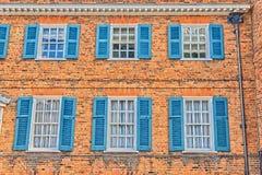 Finestre blu, hatfield, Regno Unito Fotografia Stock Libera da Diritti