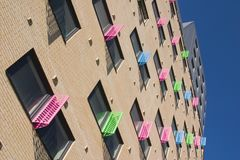 Finestre Colourful, città di Leeds Immagini Stock