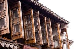 Finestre costruzione-di legno di stile di Hui fotografia stock libera da diritti