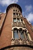 Finestre decorate della chiesa, Barcellona Spagna Immagini Stock Libere da Diritti