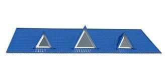 Finestre del triangolo, tetto di mattonelle isolato su bianco, Fotografie Stock Libere da Diritti