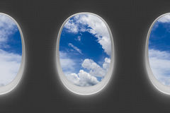 Finestre dell'aeroplano Fotografia Stock