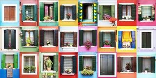 Finestre di Burano Fotografia Stock