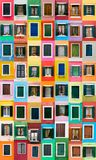 Finestre di Burano, Italia Fotografie Stock
