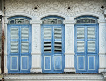 Finestre di eredità, Penang, Malesia fotografia stock
