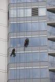 Finestre di pulizia del lavoratore su altezza Fotografie Stock Libere da Diritti