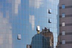 Finestre di vetro di nuove costruzioni a Kiev Fotografia Stock Libera da Diritti