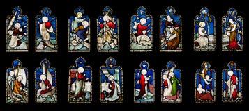 Finestre di vetro macchiate religiose Fotografia Stock Libera da Diritti
