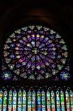 Finestre di vetro macchiati del Notre Dame de Parigi Fotografia Stock