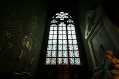 Finestre di vetro macchiato di Notre Dame Notre Dame de Paris immagine stock