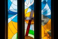 Finestre di vetro macchiato disegnate moderne immagine stock