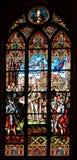 Finestre di vetro macchiato nella cupola di Riga a Riga, Lettonia Immagine Stock Libera da Diritti