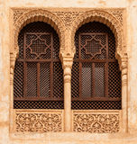 Finestre incurvate nei palazzi di Nasrid, Alhambra Fotografia Stock