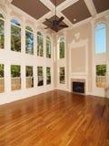 Finestre interne domestiche di lusso di modello del salone Fotografia Stock