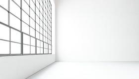 Finestre panoramiche enormi moderne vuote della sala riunioni, pavimento di legno naturale dipinto, pareti in bianco concrete Int royalty illustrazione gratis