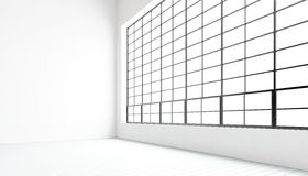 Finestre panoramiche moderne vuote della sala riunioni grandi, pavimento di legno naturale dipinto, pareti in bianco concrete Int illustrazione vettoriale