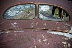 Finestre posteriori della vecchia automobile Fotografia Stock